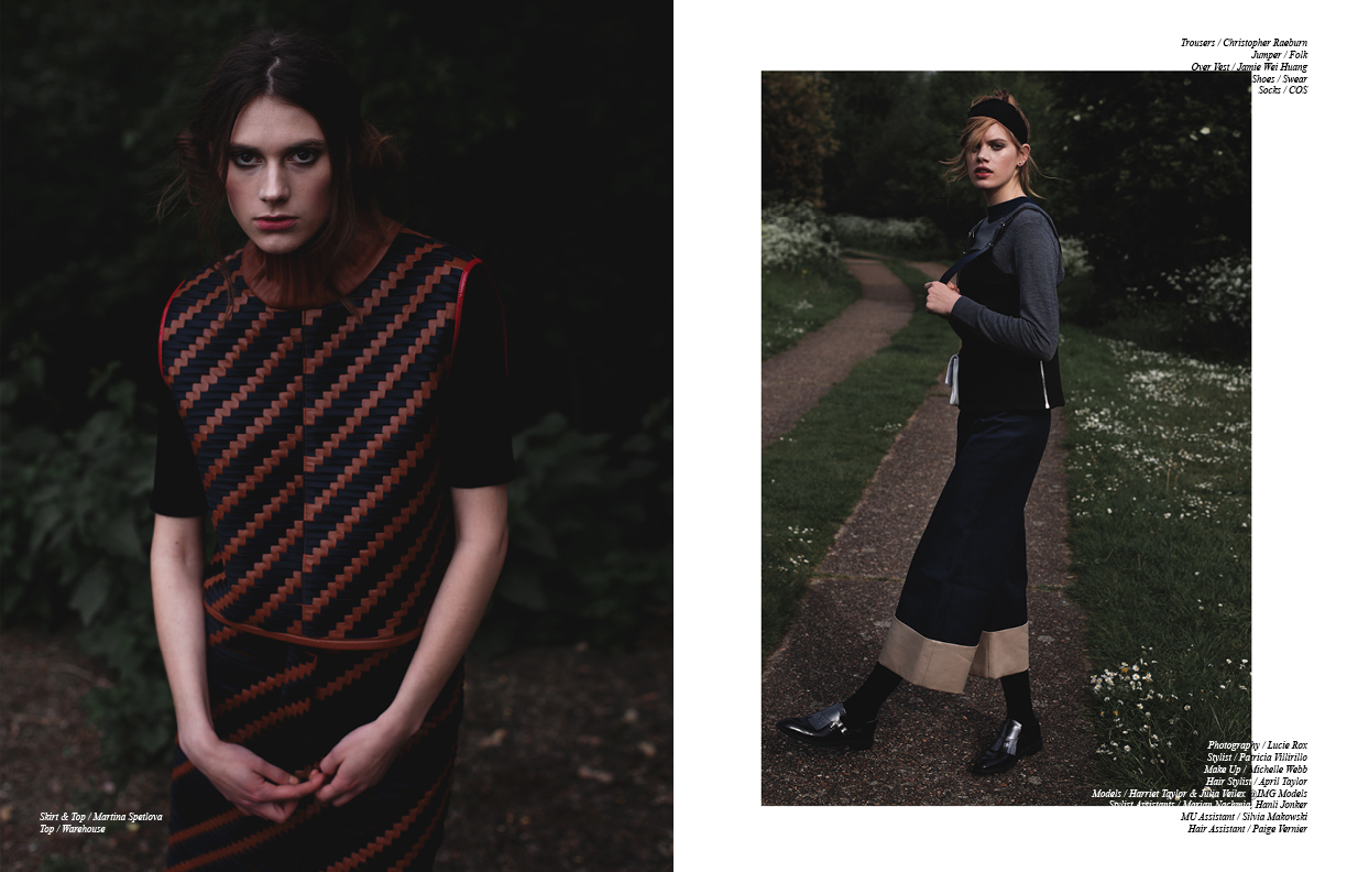 Left Skirt & Top / Martina Spetlova  Top / Warehouse Right Trousers / Christopher Raeburn  Jumper / Folk Over  Vest / Jamie Wei Huang Shoes / Swear  Socks / COS