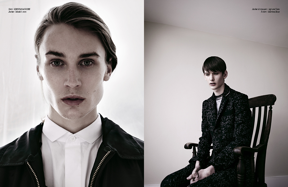 Left Shirt / KRiSVANASSCHE Jacket / Model's own Right Jacket & trousers / Agi and Sam T-shirt / Martine Rose