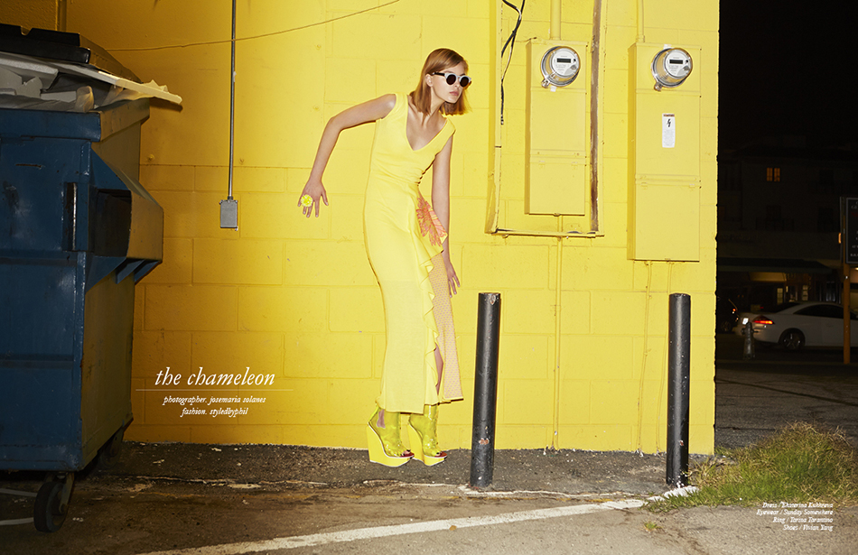 Dress / Ekaterina Kukhreva Eyewear / Sunday Somewhere Ring / Tarina Tarantino  Shoes / Vivian Yang