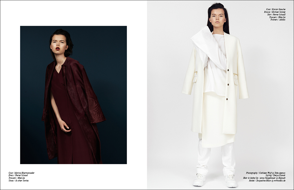 Left Coat / Marina Hoermanseder  Dress / Perret Schaad Trousers / Hien Le Shoes / & other Stories Right Coat / Kaviar Gauche Blouse / Michael Sontag Skirt / Perret Schaad Trousers / Hien Le  Trainers / Adidas