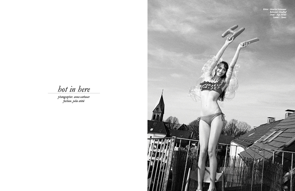 Bikini / Mouillé Swimwear  Raincoat / Kaufhof  Shoes / Juju Jellies  Letters / Xenos