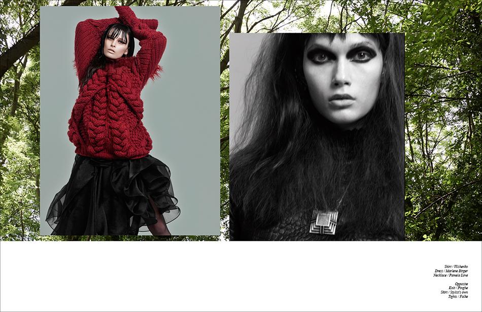 Left Shirt / Vilshenko  Dress / Marlene Birger Necklace / Pamela Love Right Knit / Pinghe Skirt / Stylist's own  Tights / Falke