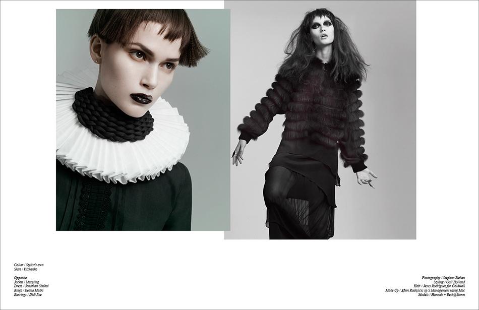 Left Collar / Stylist's own  Shirt / Vilshenko Right Jacket / Maryling Dress / Jonathan Simkai Rings / Ileana Makri Earrings / Didi Ilse