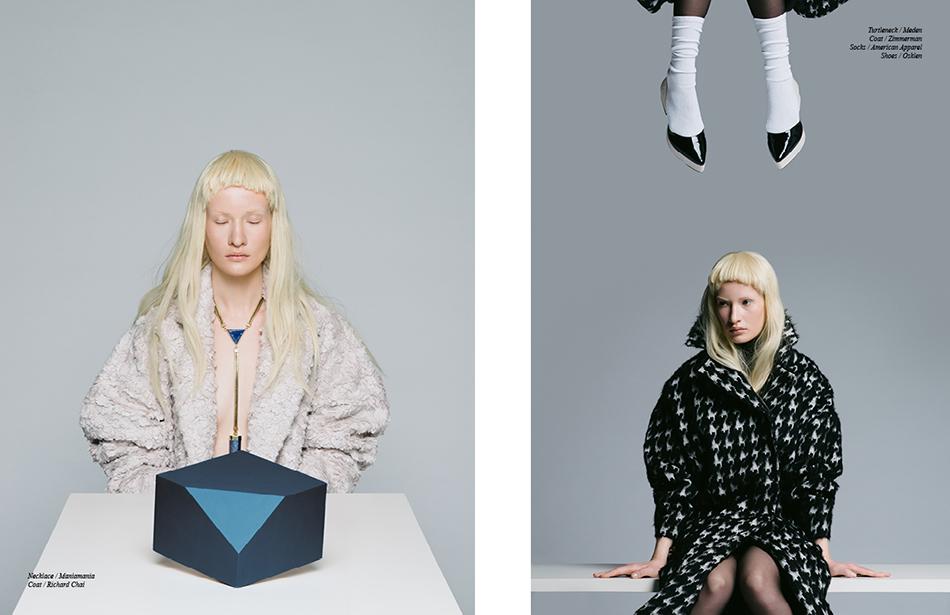 Left Necklace / Maniamania Coat / Richard Chai Right Turtleneck / Meden  Coat / Zimmerman  Socks / American Apparel Shoes / Osklen