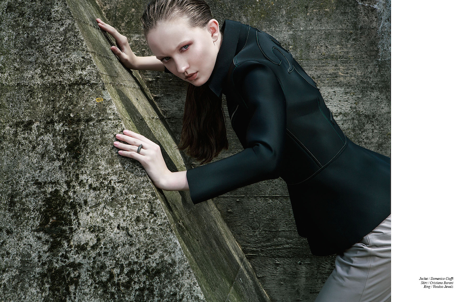 Jacket / Domenico Cioffi  Skirt / Cristiano Burani  Ring / Voodoo Jewels
