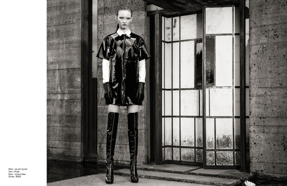 Dress / Au jour le jour  Shirt / Prada Boots / Joshua Fenu  Gloves / H&M