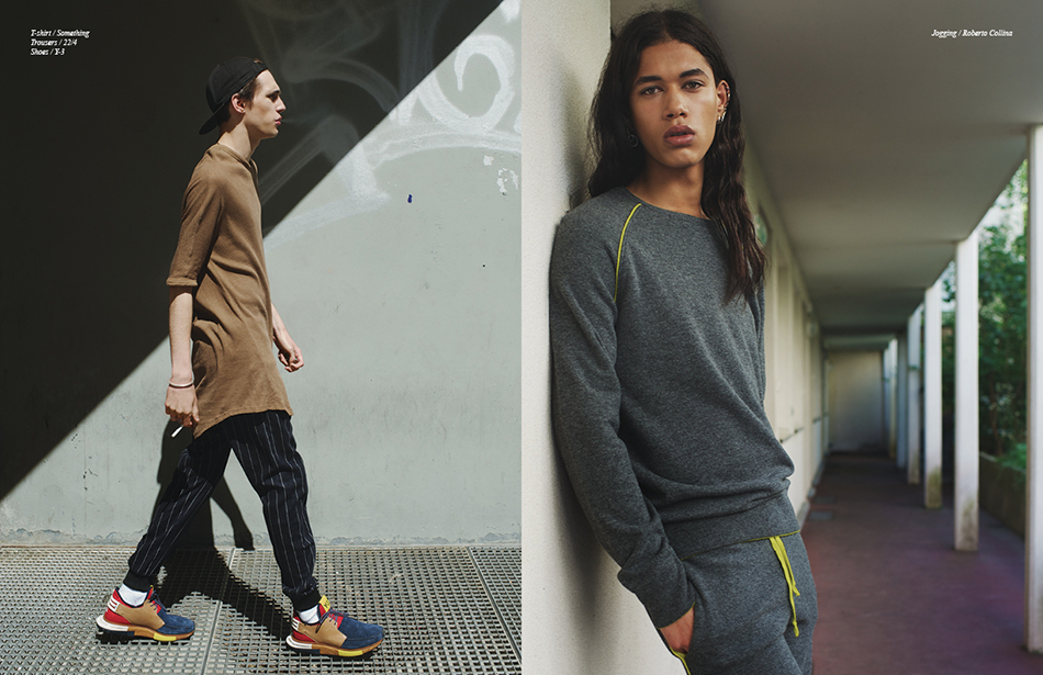 Left T-shirt / Something  Trousers / 22/4 Shoes / Y-3 Right Jogging / Roberto Collina