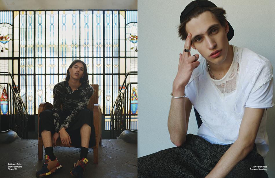 Left Pullover / Julius Short / Sankuanz  Shoes / Y-3 Right T -shirt / Ekan/Jerez Trousers / Something