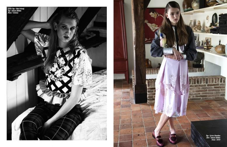 Left Siver Top / Side Schaaij  Top / Marijn Rikken  Trousers / Comma Right Top / Sylvio Giardina  Skirt / Marijn Rikken  Shoes / DUO