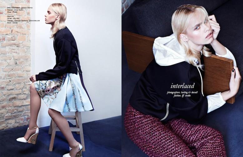 Left Dress underneath / Antonio Marras  Sweater / Acne Studios Shoes / Prada Right Jacket / Miu Miu Sweater / Opening Ceremony @ voostore.com Trousers / Chanel