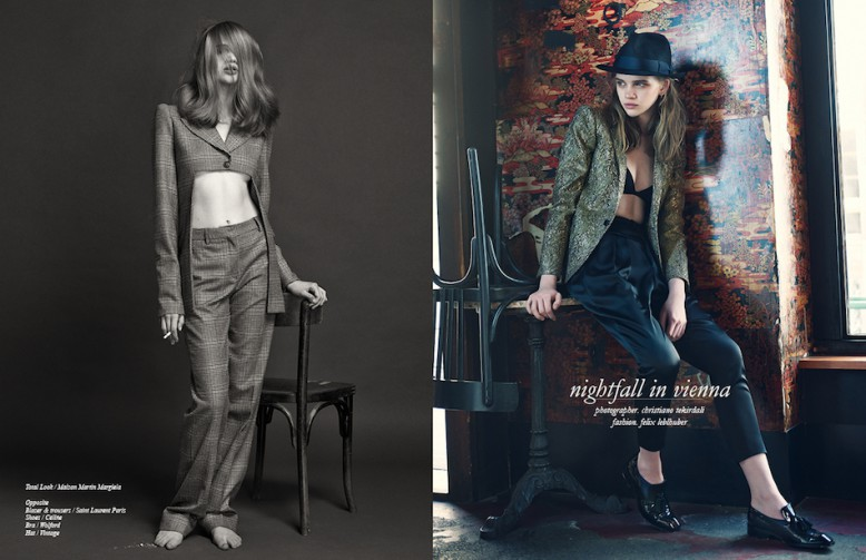 Total Look / Maison Martin Margiela Opposite Blazer & trousers / Saint Laurent Paris Shoes / Célińe Bra / Wolford Hat / Vintage