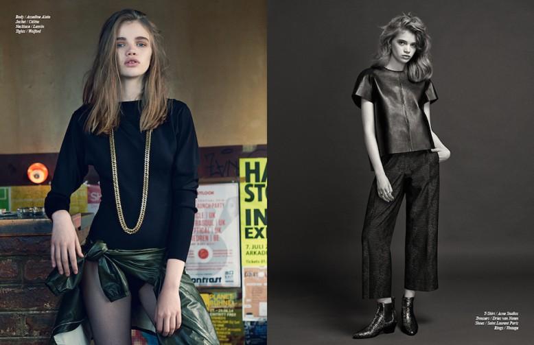 Body / Azzedine Alaïa Jacket / Célińe Necklace / Lanvin Tights / Wolford Opposite T-Shirt / Acne Studios Trousers / Dries van Noten Shoes / Saint Laurent Paris Rings / Vintage