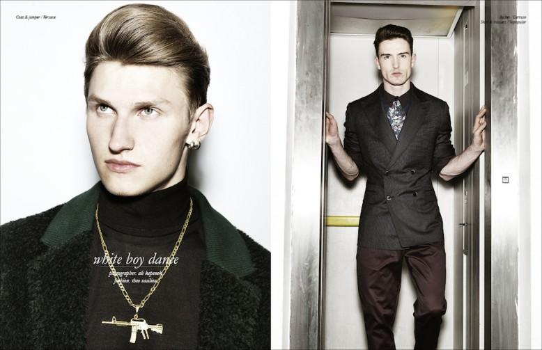 Left Coat & jumper / Versace Right Jacket / Carruso  Shirt & trousers / Sopopular