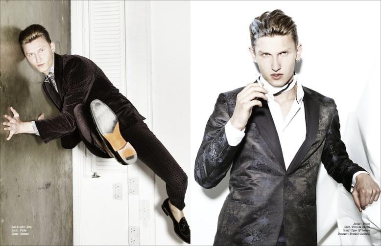 Left Suit & shirt / Etro  Socks / Falke  Shoes / Santoni Right Jacket / Brioni  Shirt / Porsche Design  Scarf / Tiger Of Sweden Trousers / Brunelli Cucinelli