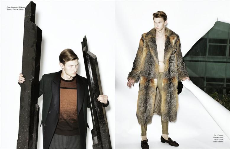 Left Coat & trousers / Z Zegna Blouse / Porsche Design Right Fur / Carruso  Trousers / Etro  Socks / Falke  Shoes / Santoni