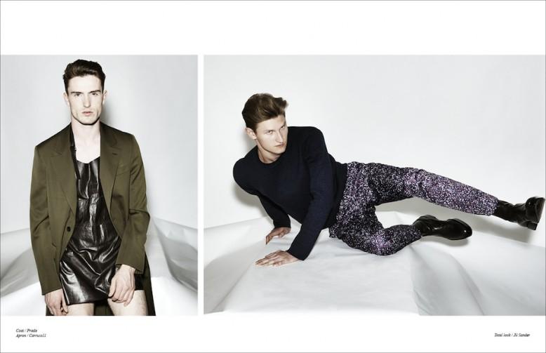 Left Coat / Prada Apron / Carruso11 Right Total look / Jil Sander