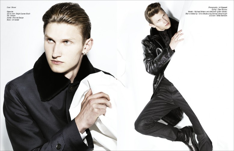 Left Coat / Brioni Right Suit & shirt / Ralph Lauren Black Tie / Armani Jacket / Porsche Design Boots / Jil Sander