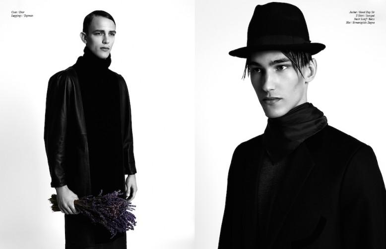 Coat / Dior Leggings / Topman Opposite Jacket / Good Day Sir T-Shirt / Sunspel Neck Scarf / Reiss Hat / Ermenigildo Zegna