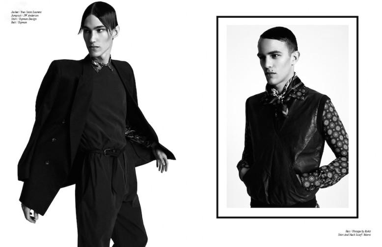 Jacket / Yves Saint Laurent Jumpsuit / JW Anderson Shirt / Topman Design Belt / Topman Opposite Vest / Vintage by Rokit Shirt And Neck Scarf / Marni