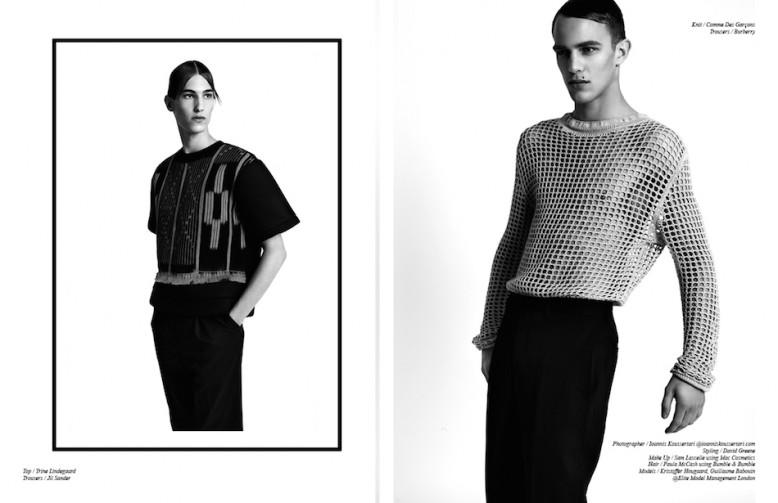 Top / Trine Lindegaard Trousers / Jil Sander Opposite Knit / Comme Des Garçons Trousers / Burberry