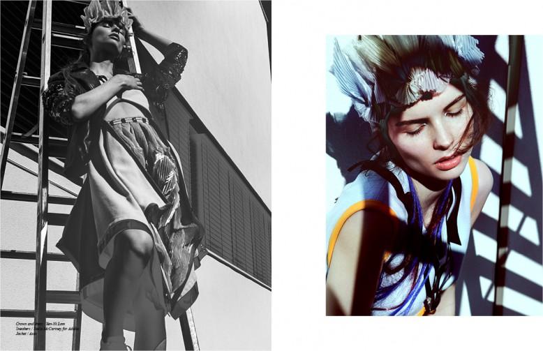 Crown and dress / Yen-Ni Lam  Sneakers / Stella McCartney for Adidas  Jacket / Asos
