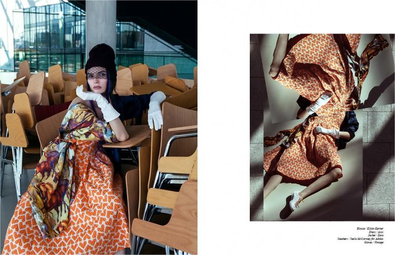 Blouse / Kilian Kerner  Dress / Asos  Jacket / Zara  Sneakers / Stella McCartney for Adidas  Gloves / Vintage