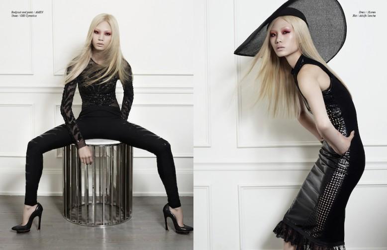 Left Bodysuit and trousers / AMEN   Shoes / OBI Cymatica Right Dress / JLoren Hat / Adolfo Sanche