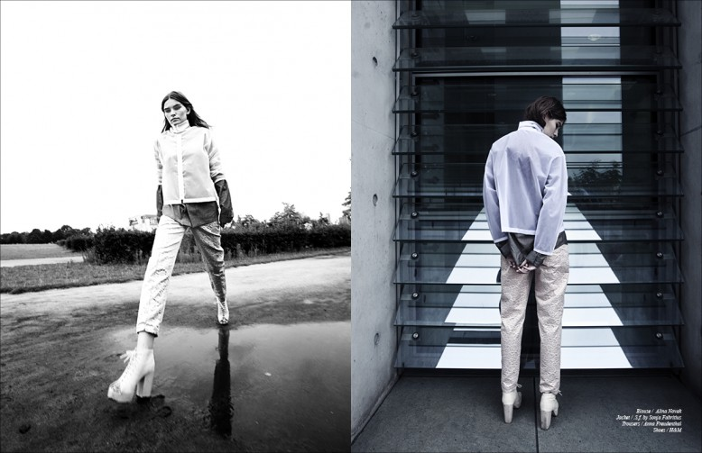 Blouse / Alina Novak  Jacket / .S.f. by Sonja Fabritius  Trousers / Anna Freudenthal  Shoes / H&M