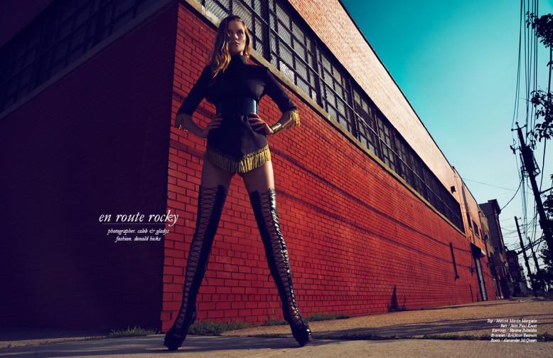Top / Maison Martin Margiela  Belt / Jean Paul Knott Earrings / Helene Zubeldia  Bracelet / Erickson Beamon  Boots / Alexander McQueen
