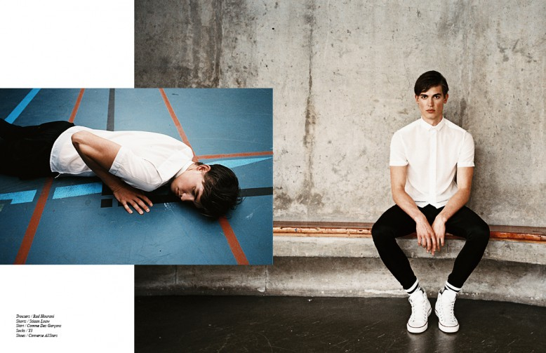 Trousers / Rad Hourani Shorts / Stiaan Louw Shirt / Comme Des Garçons Socks / Y3 Shoes / Converse AllStars