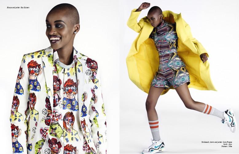 Left Blouse and jacket / Bas Kosters Right Turtleneck, shorts and jacket / Lola Prague  Socks / Asos  Trainers / Nike