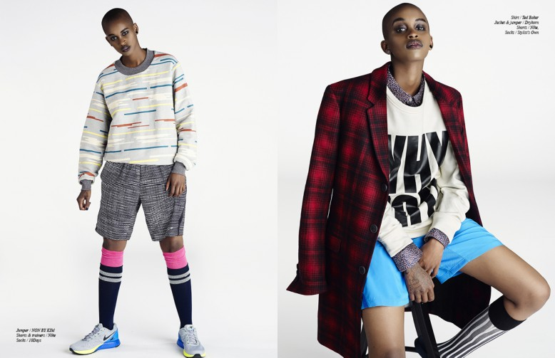 Left Jumper / NON BY KIM  Shorts & trainers / Nike  Socks / 10Days Right Shirt / Ted Baker  Jacket & jumper / Drykorn Shorts / Nike  Socks / Stylist's Own