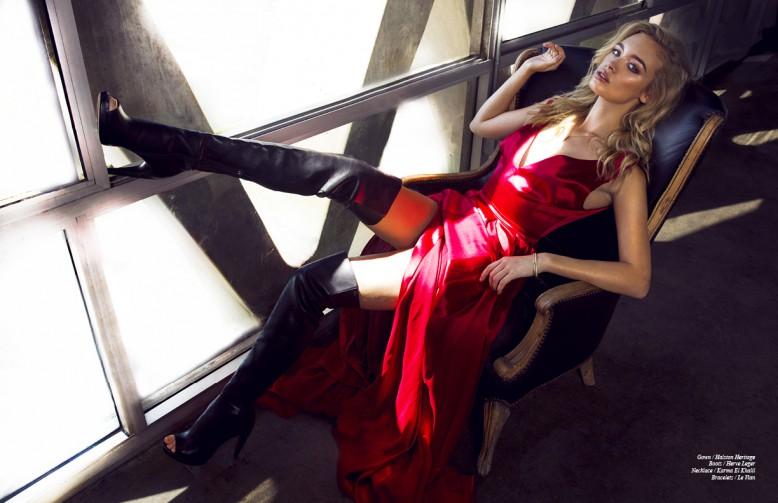 Gown / Halston Heritage Boots / Hervé Léger  Necklace / Karma El Khalil  Bracelets / Le Vian