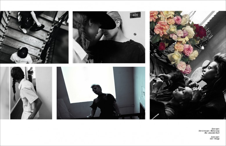 Kota wears  Shirt & trousers / Helmut Lang  Hat / Alexander Black Justin wears  Shirt / Vintage