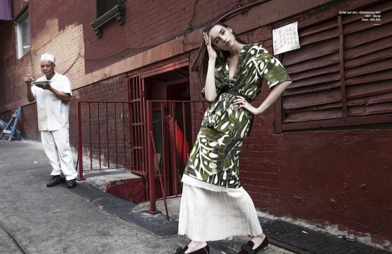 Jacket and skirt / Giambattista Valli  Skirt / Hache  Shoes / Miu Miu
