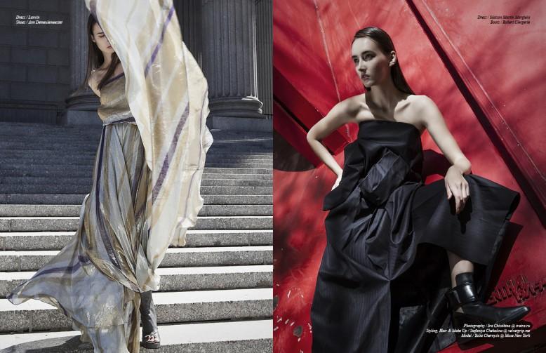 Left Dress / Lanvin  Shoes / Ann Demeulemeester Right Dress / Maison Martin Margiela  Boots / Robert Clergerie