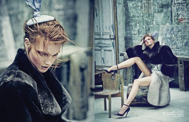 Jacket / Schiaparelli Jacket worn underneath / Loris Azzaro  Hat / Stephen Jones for Schiaparelli  Shoes / Elie Saab