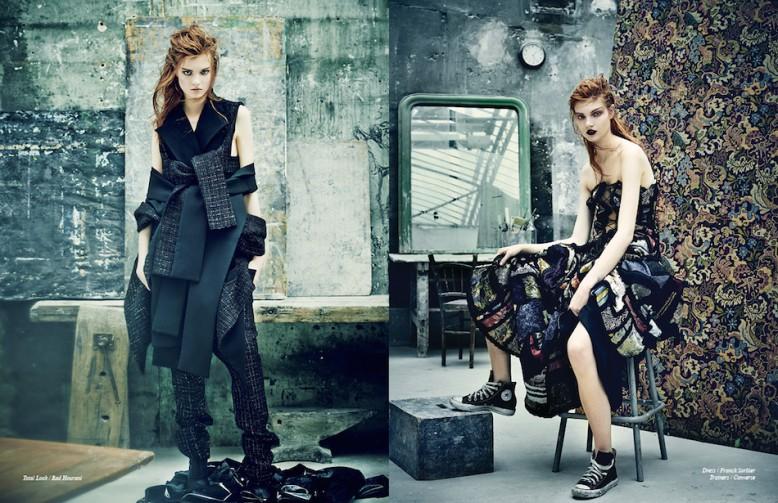 Total Look / Rad Hourani Opposite Dress / Franck Sorbier Trainers / Converse