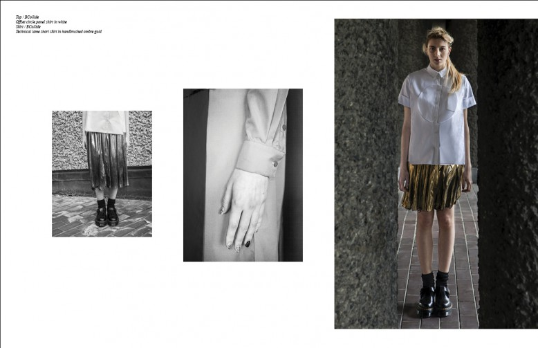 Top / BCollide Offset circle panel shirt in white Skirt / BCollide Technical lame short skirt in handbrushed ombre gold