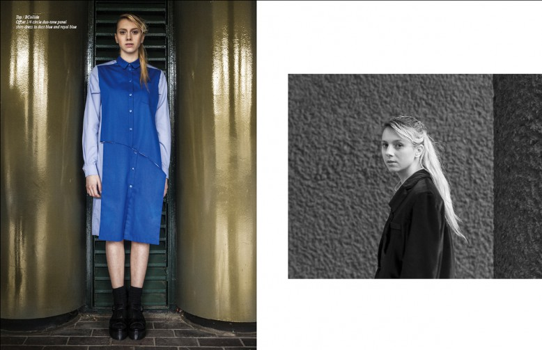 Top / BCollide Offset 1/4 circle duo-tone panel shirt-dress in dust blue and royal blue