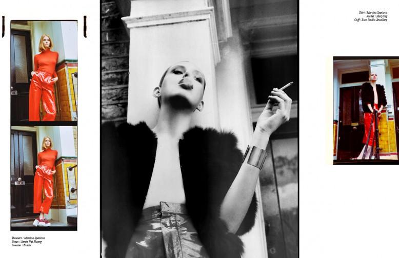 Trousers / Martina Spetlova  Shoes / Jamie Wei Huang  Sweater / Prada