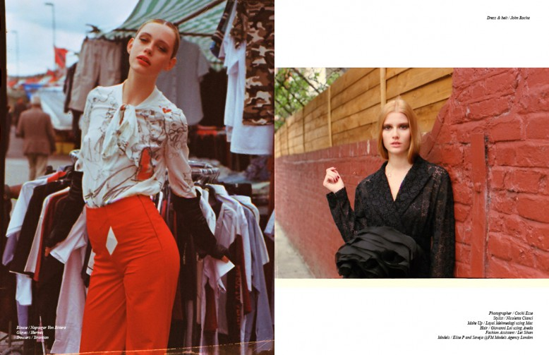 Left Blouse / Napsugar Von Bittera  Gloves / Hermès Trousers / Yirantian Right Dress & belt / John Rocha