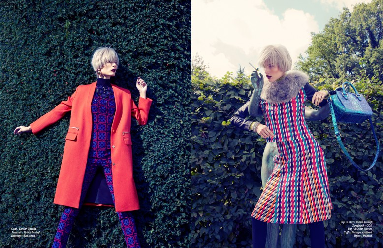 Left: Coat / Kaviar Gauche  Jumpsuit / Talbot Runoff Earrings / Ben Amun Right: Top & skirt / Talbot Runhof  Turtelneck / COS  Bag / &Other Stories  Cuffs / Philippe Audibert Tights / Wolford