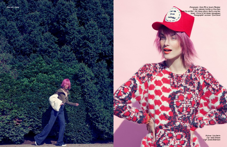 Left: Total look / Céline  Right: Pullover / Lala Berlin  Cap / Mads Dinesen  Cuff / Aurelie Bidermann