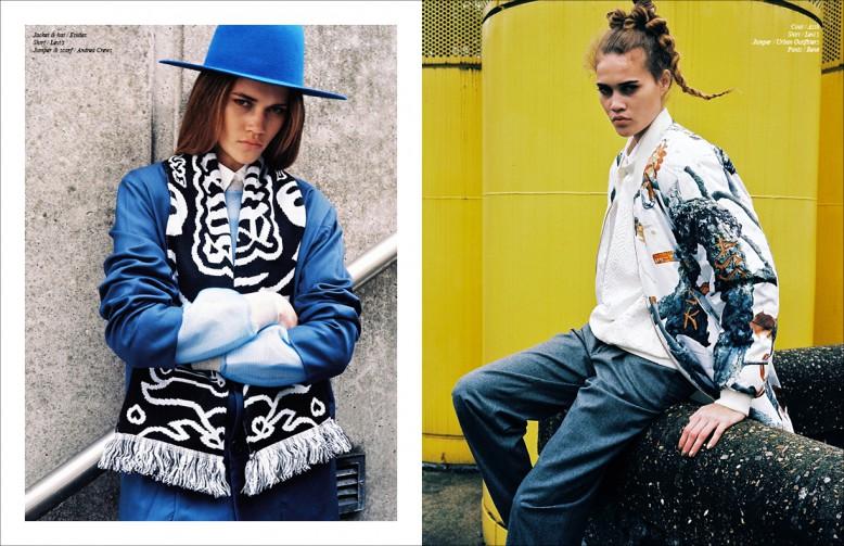 Left to Right/ Jacket & hat / Etudes Shirt / Levi's Jumper & scarf / Andrea Crews Opposite Coat / Assk  Shirt / Levi's  Jumper / Urban Outifitters Pants / René