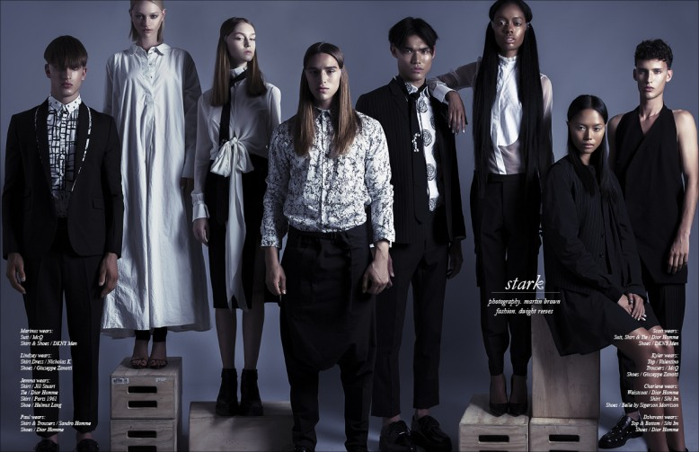 Left to Right Marinus wears Suit / McQ Shirt & Shoes / DKNY Men Lindsey wears Shirt Dress / Nicholas K Shoes / Giuseppe Zanotti Jemma wears Shirt / Jill Stuart  Tie / Dior Homme  Skirt / Ports 1961  Shoe / Helmut Lang Paul wears Shirt & Trousers / Sandro Homme  Shoes / Dior Homme Scott wears Suit, Shirt & Tie / Dior  Homme Shoes / DKNY Men Kyler wears Top / Valentino  Trousers / McQ  Shoes / Giuseppe Zanotti Charlene wears  Waistcoat / Dior Homme  Shirt / Siki Im  Shoes / Belle by Sigerson Morrison Dzhovani wears Top & Bottom / Siki Im  Shoes / Dior Homme