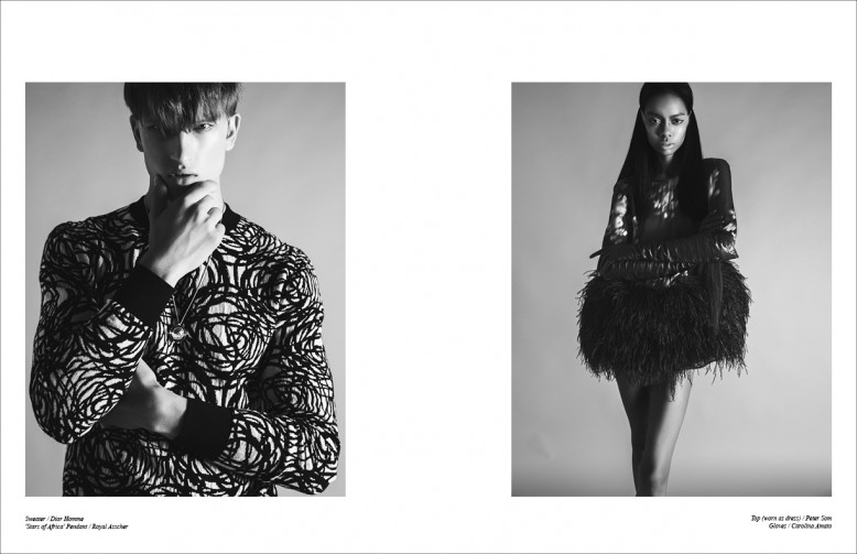 Sweater / Dior Homme  'Stars of Africa' Pendant / Royal Asscher  Top (worn as dress) / Peter Som  Gloves / Carolina Amato