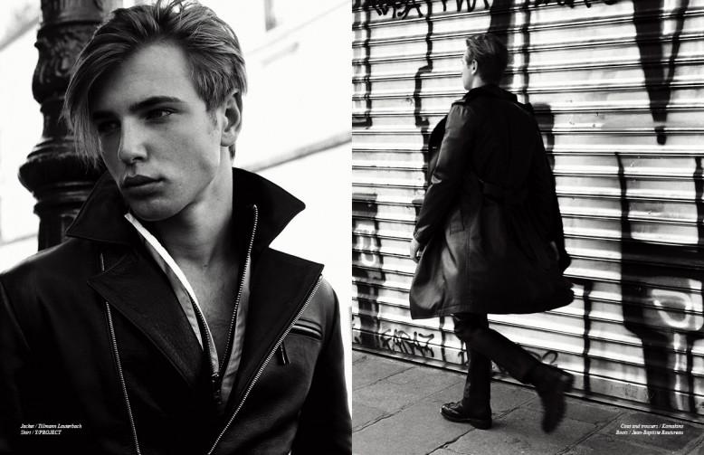 Jacket / Tillmann Lauterbach Shirt / Y/PROJECT Opposite Coat and trousers / Komakino Boots / Jean-Baptiste Rautureau