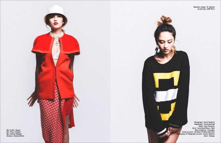 Left to Right Geometric Jumper / R. Shemiste Ant  Earrings / BPB World Opposite Vest & Skirt / Geonjo Bra / Vina J. Lingerie Hat / Milliner Ranggan Necklace / Monday Edition
