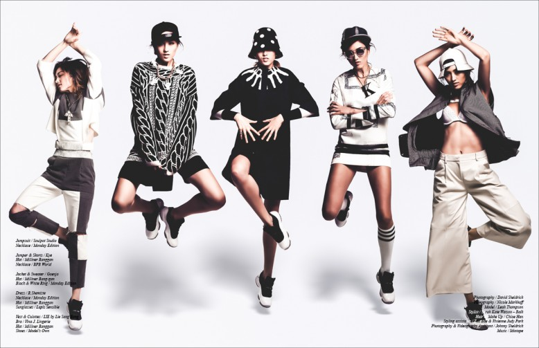 Left to Right Jumpsuit / Soulpot Studio Necklace / Monday Edition Jumper & Shorts / Kye  Hat / Milliner Ranggan Necklace / BPB World Jacket & Sweater / Goenjo Hat / Milliner Rang-gan Black & White Ring / Monday Edition Dress / R.Shemiste Necklace / Monday Edition Hat / Milliner Ranggan Sunglasses / Lapiz Sensible Vest & Culottes / LIE by Lie Sang Bong  Bra / Vina J. Lingerie Hat / Milliner Ranggan Shoes / Model's Own